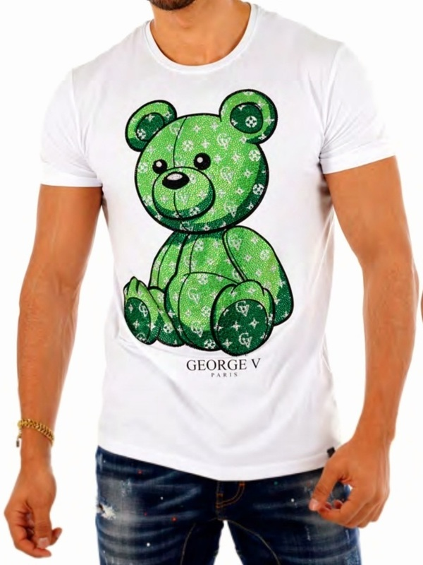 t shirt goerge v ours / white green