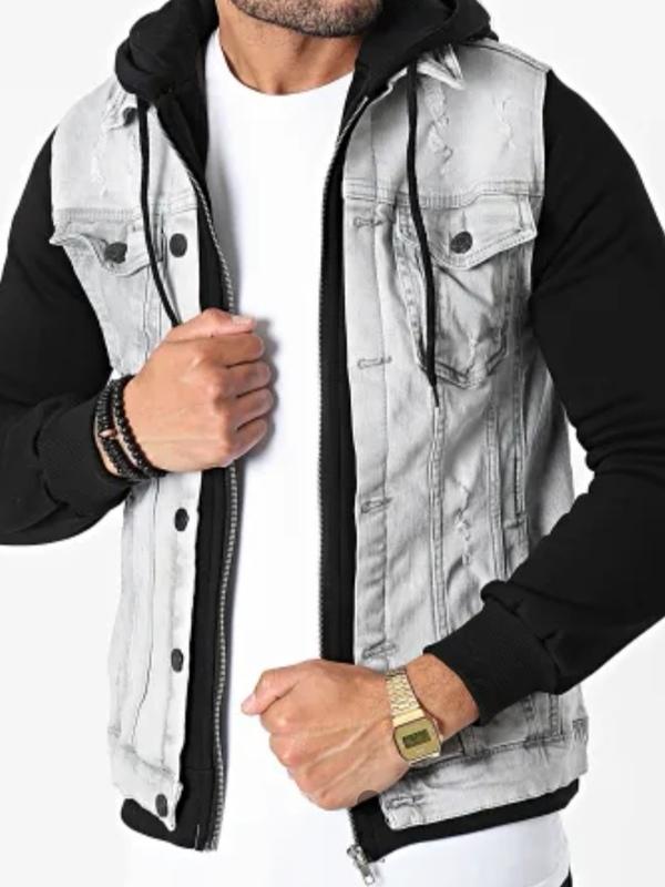 Veste en Jeans grise manche noir