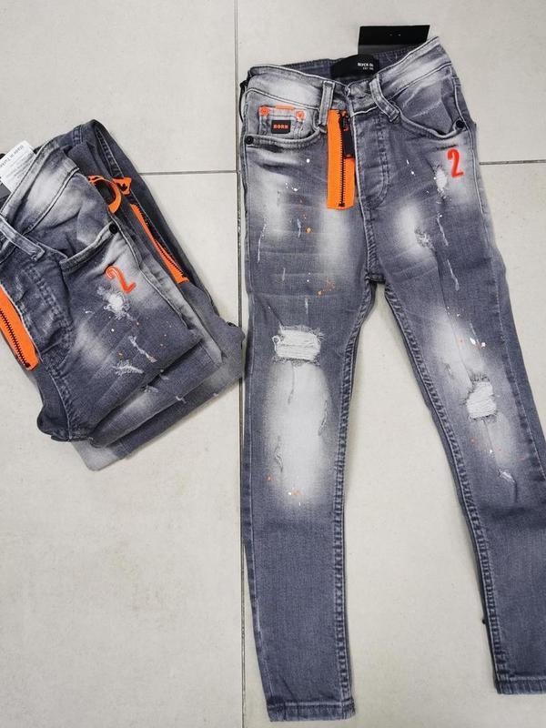 jeans enfant gris / orange