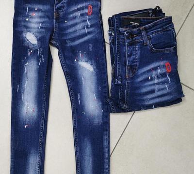 jeans enfant bleu / rouge