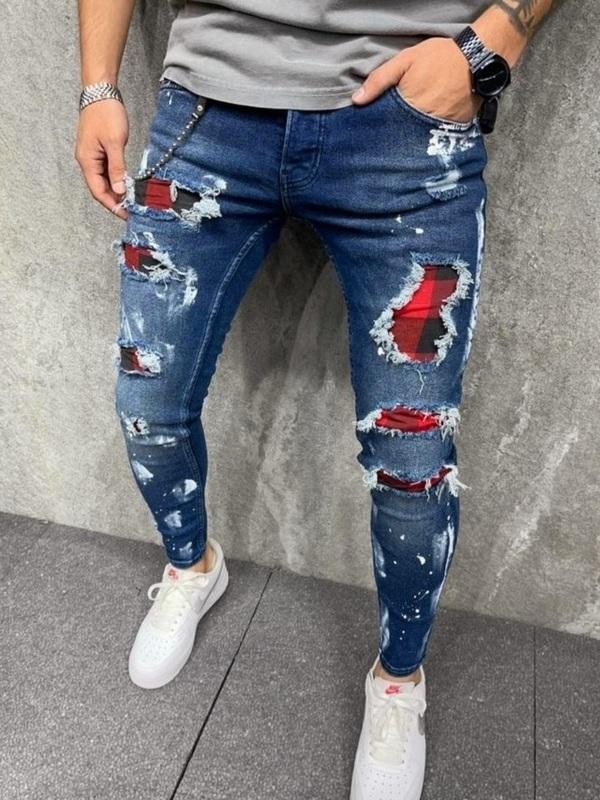 Jeans Bleu Fashion Motif Carreau Rouge (2Y)