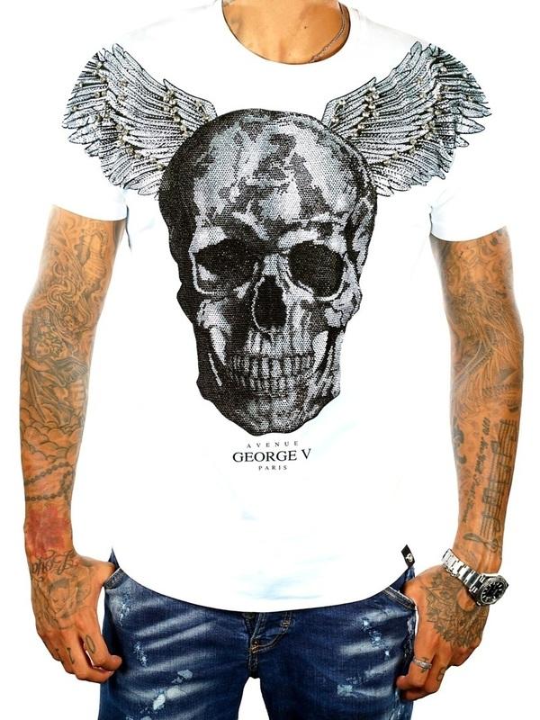 t shirt goerge v white silver